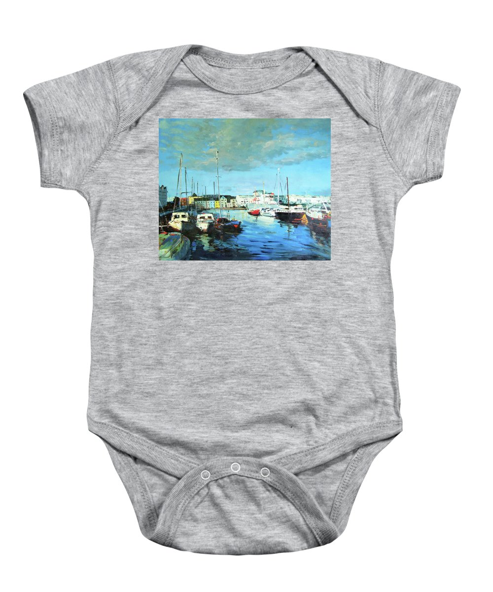 Galway Baby Onesie featuring the painting Galway Docks by Conor McGuire