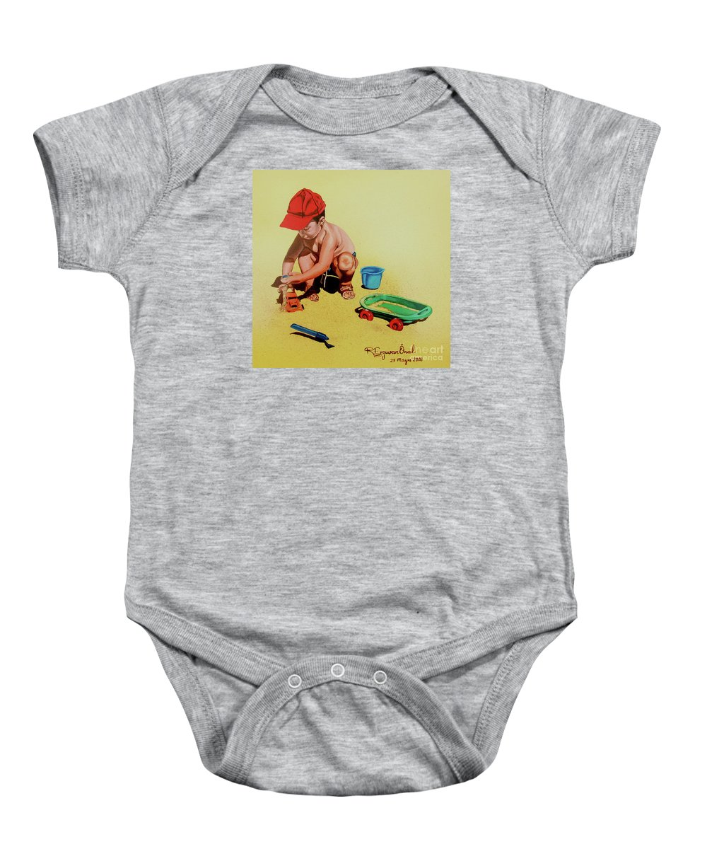 Beach Baby Onesie featuring the painting Game at the beach - Juego en la playa by Rezzan Erguvan-Onal