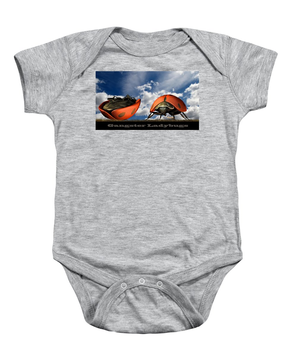 Ladybug Baby Onesie featuring the digital art Gangster Ladybugs Nature Gone Mad by Bob Orsillo