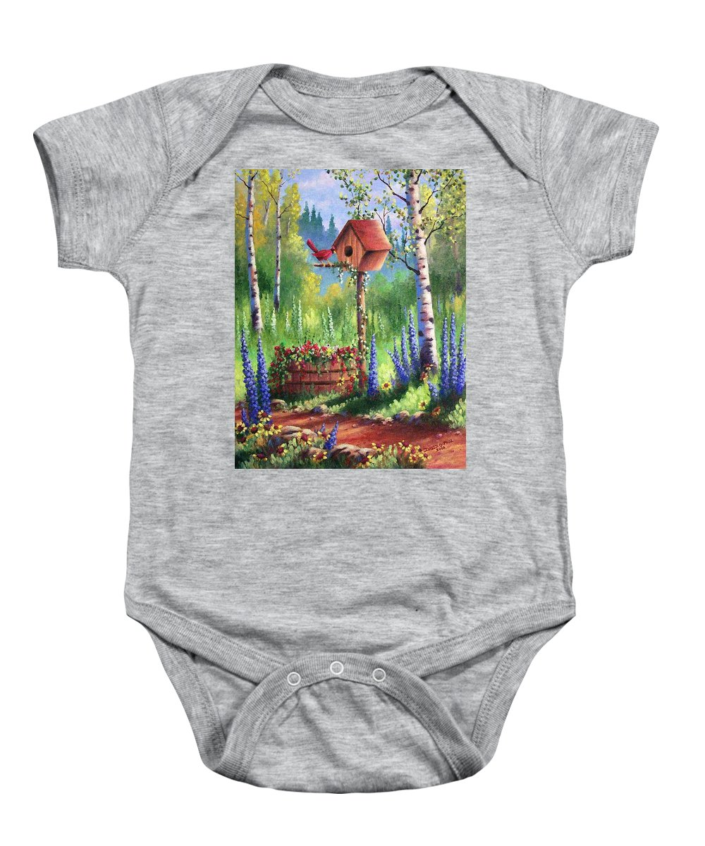 Bird Baby Onesie featuring the painting Garden Birdhouse by David G Paul