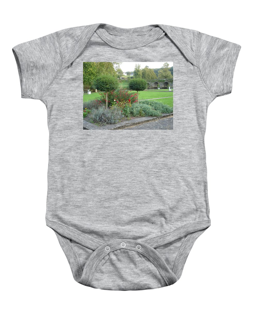 Inistioge Baby Onesie featuring the photograph Garden On The Banks Of The Nore by Kelly Mezzapelle