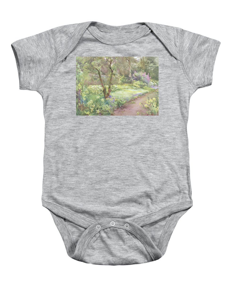 Flower Baby Onesie featuring the painting Garden Path by Mildred Anne Butler