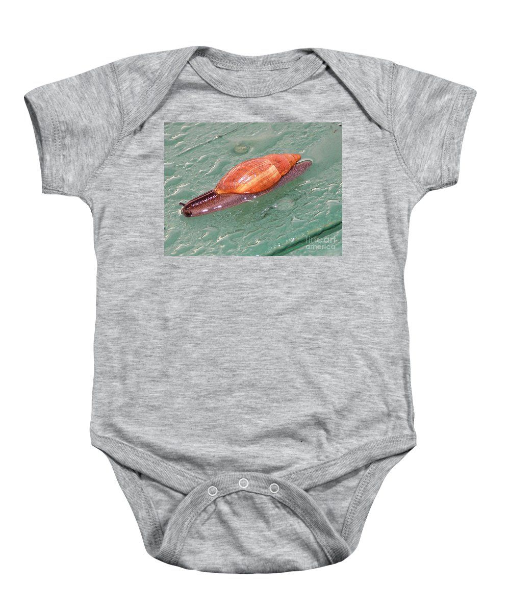 Green Baby Onesie featuring the photograph Garden Snail 4 by Mary Deal