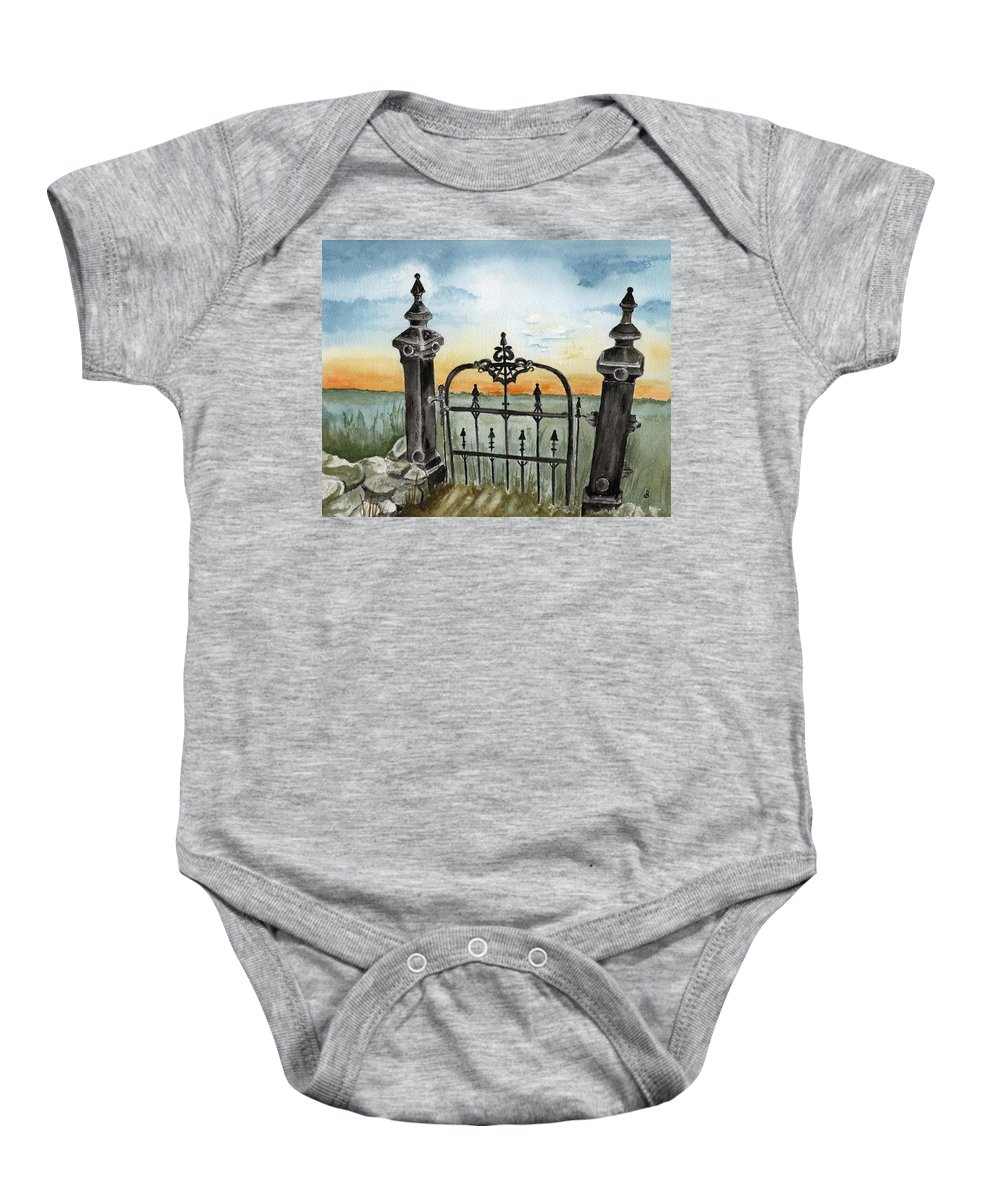 Gate Baby Onesie featuring the painting Gateway by Brenda Owen