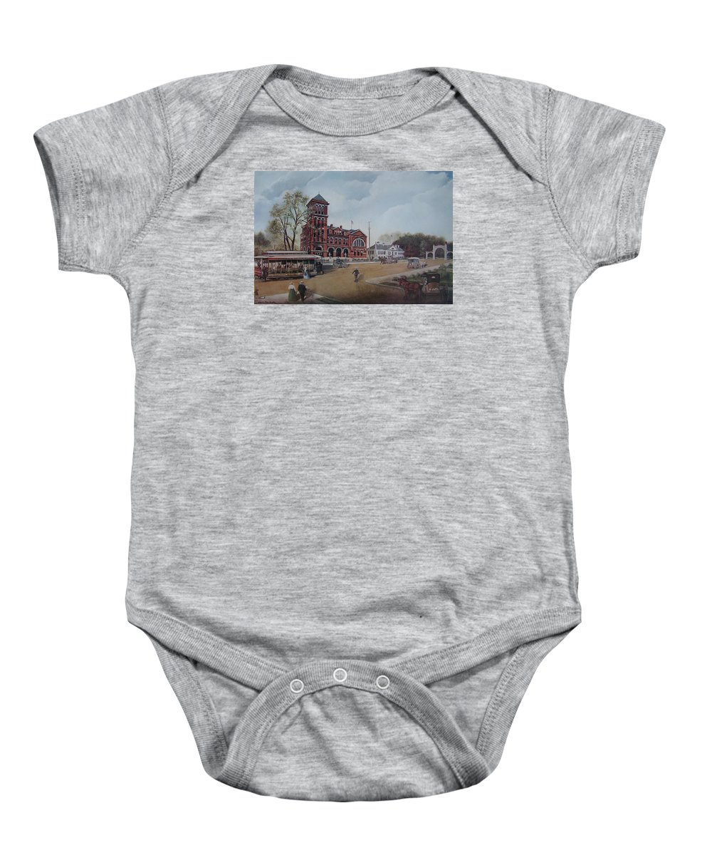 Charles Roy Smith Baby Onesie featuring the painting Gateway To The Queen City by Charles Roy Smith