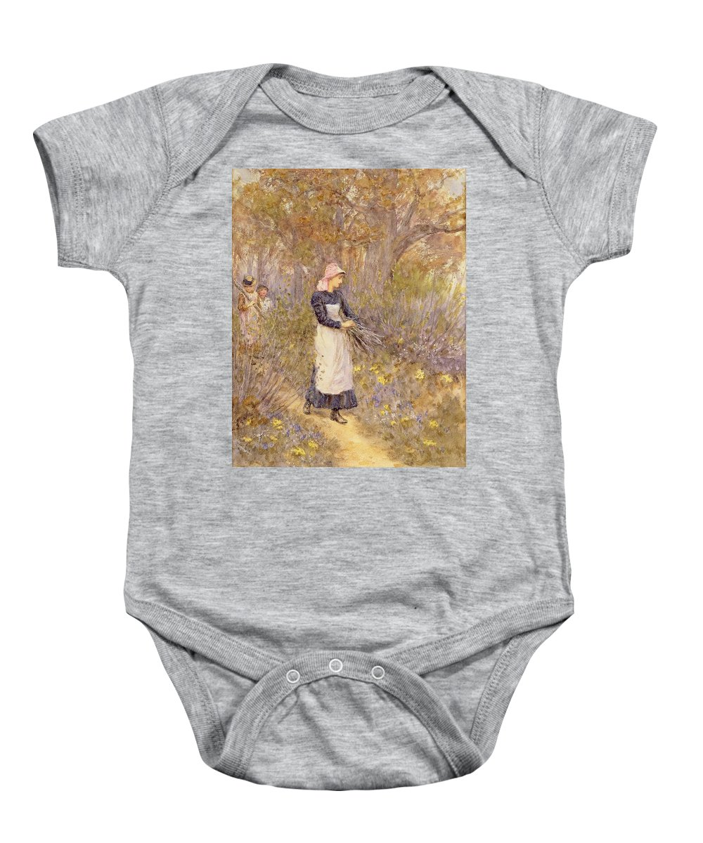 Female; Girl; Pinny; Pinafore; Apron; Collecting; Path; Branches; Chore; Task; Three Children; Headscarf Baby Onesie featuring the painting Gathering Wood For Mother by Helen Allingham