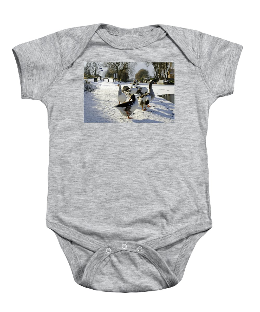 Burton On Trent Baby Onesie featuring the photograph Geese At The Frozen Horninglow Basin by Rod Johnson