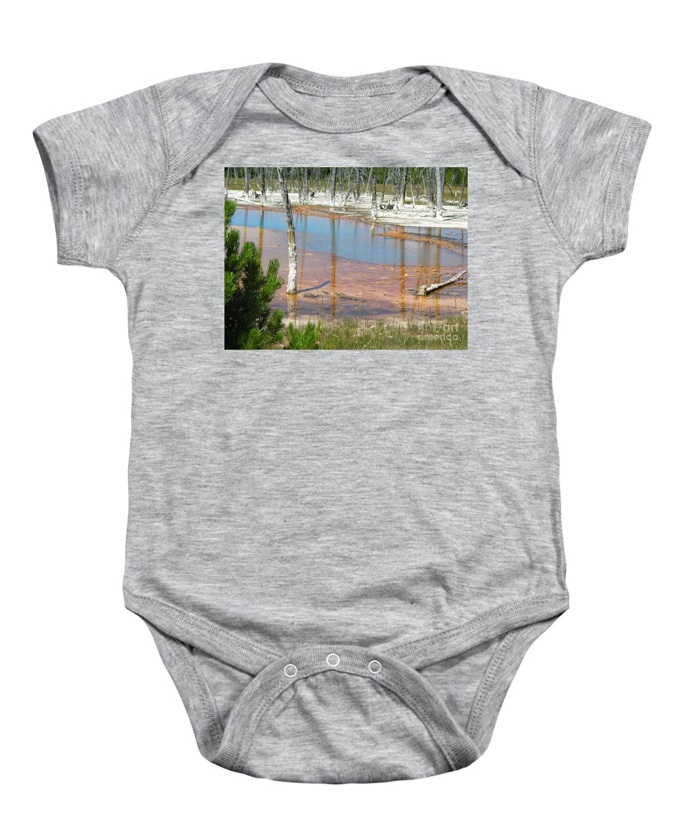 Griser Baby Onesie featuring the photograph Geisers by Diane Greco-Lesser