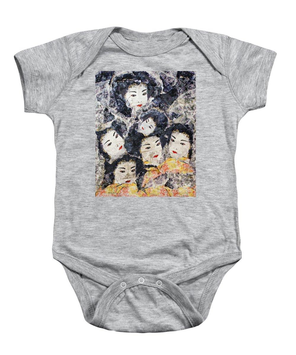 Geisha Baby Onesie featuring the mixed media Geisha by Shelley Jones