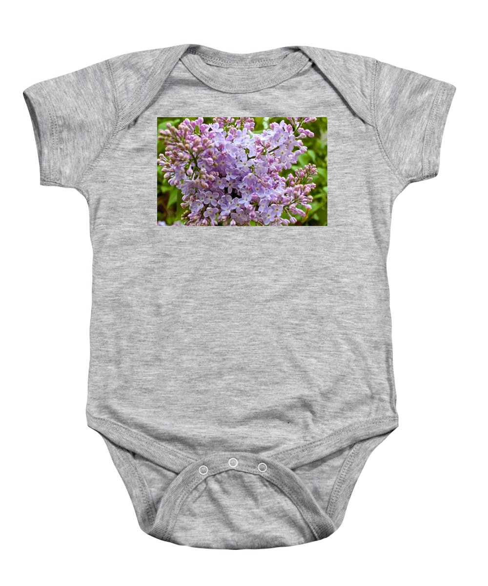 Purple Baby Onesie featuring the photograph Gentle Purples by Mario MJ Perron