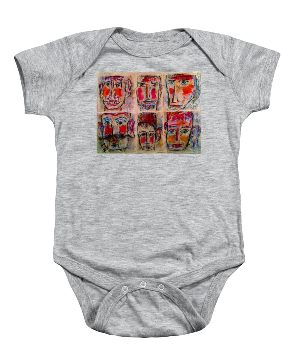 Expressionism Baby Onesie featuring the mixed media Gentlemen by Natalie Holland