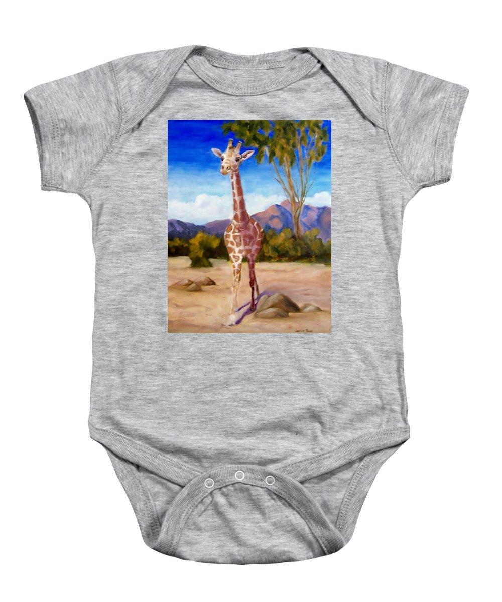 Giraffe Baby Onesie featuring the painting Geoffrey Giraffe by Jamie Frier
