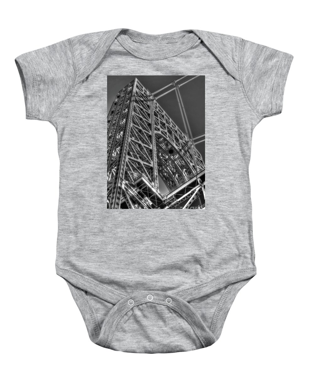 Black And White Baby Onesie featuring the photograph George Washington Bridge Tower by Jonathan Collins