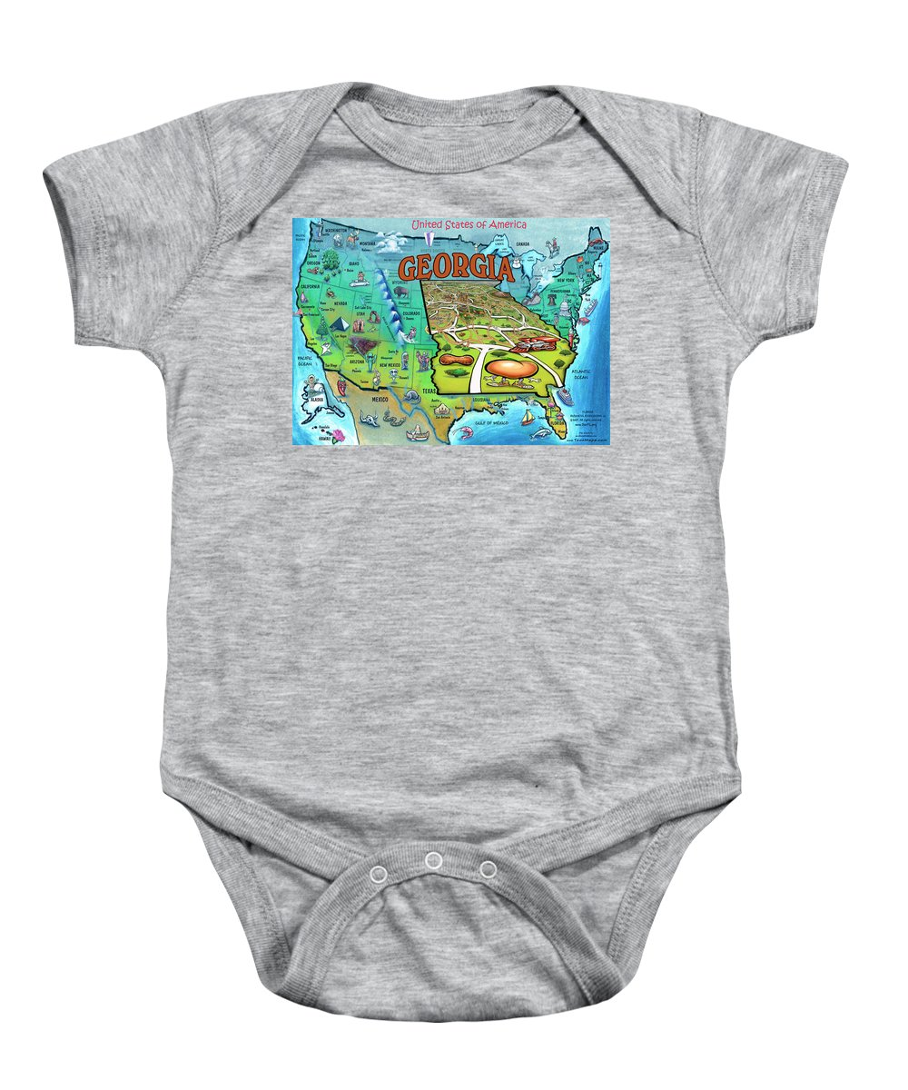 Georgia Baby Onesie featuring the painting Georgia Usa Cartoon Map by Kevin Middleton