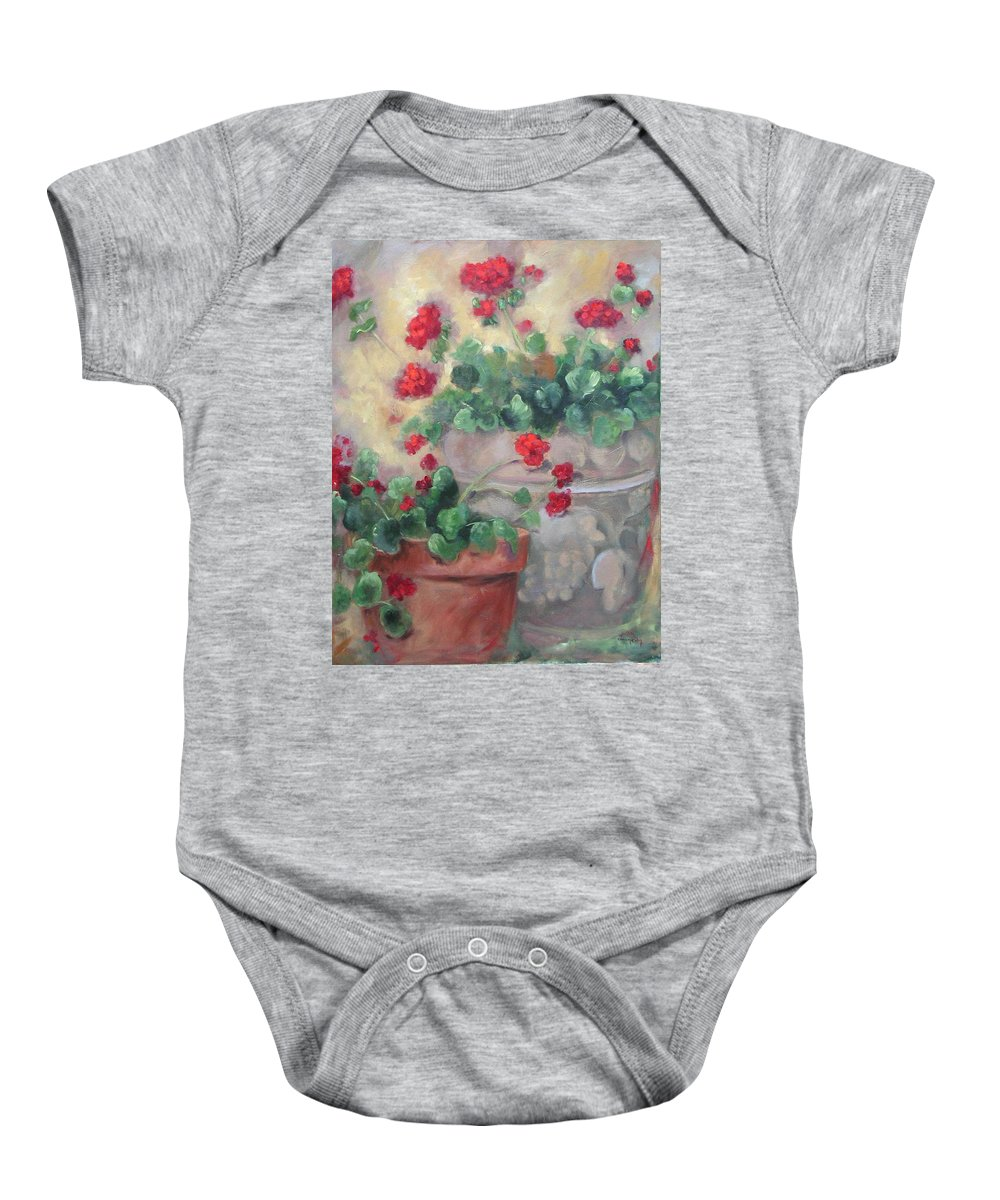 Geraniums Baby Onesie featuring the painting Geraniums by Ginger Concepcion