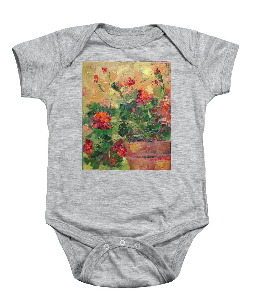 Geraniums Baby Onesie featuring the painting Geraniums II by Ginger Concepcion