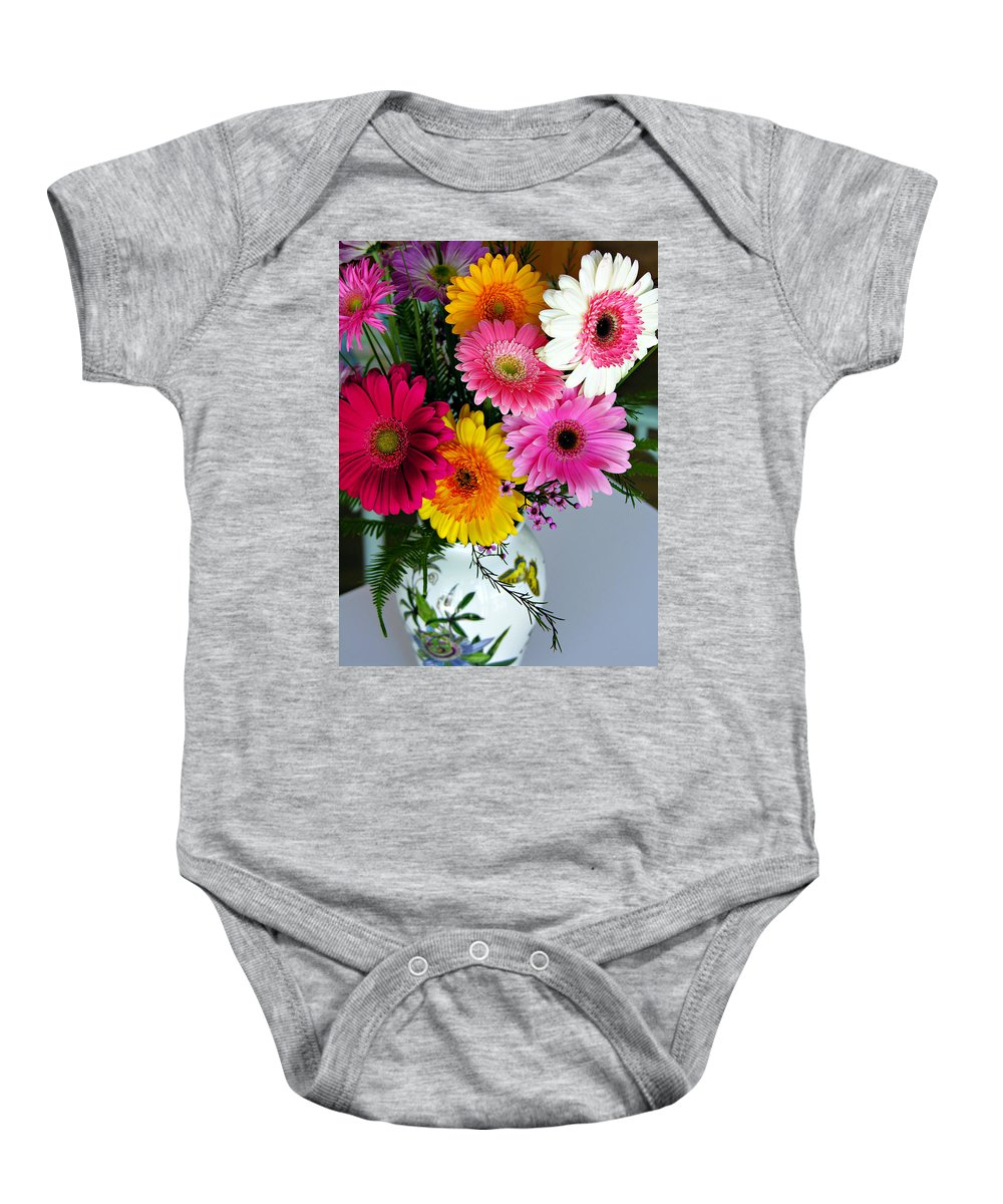 Flower Baby Onesie featuring the photograph Gerbera Daisy Bouquet by Marilyn Hunt
