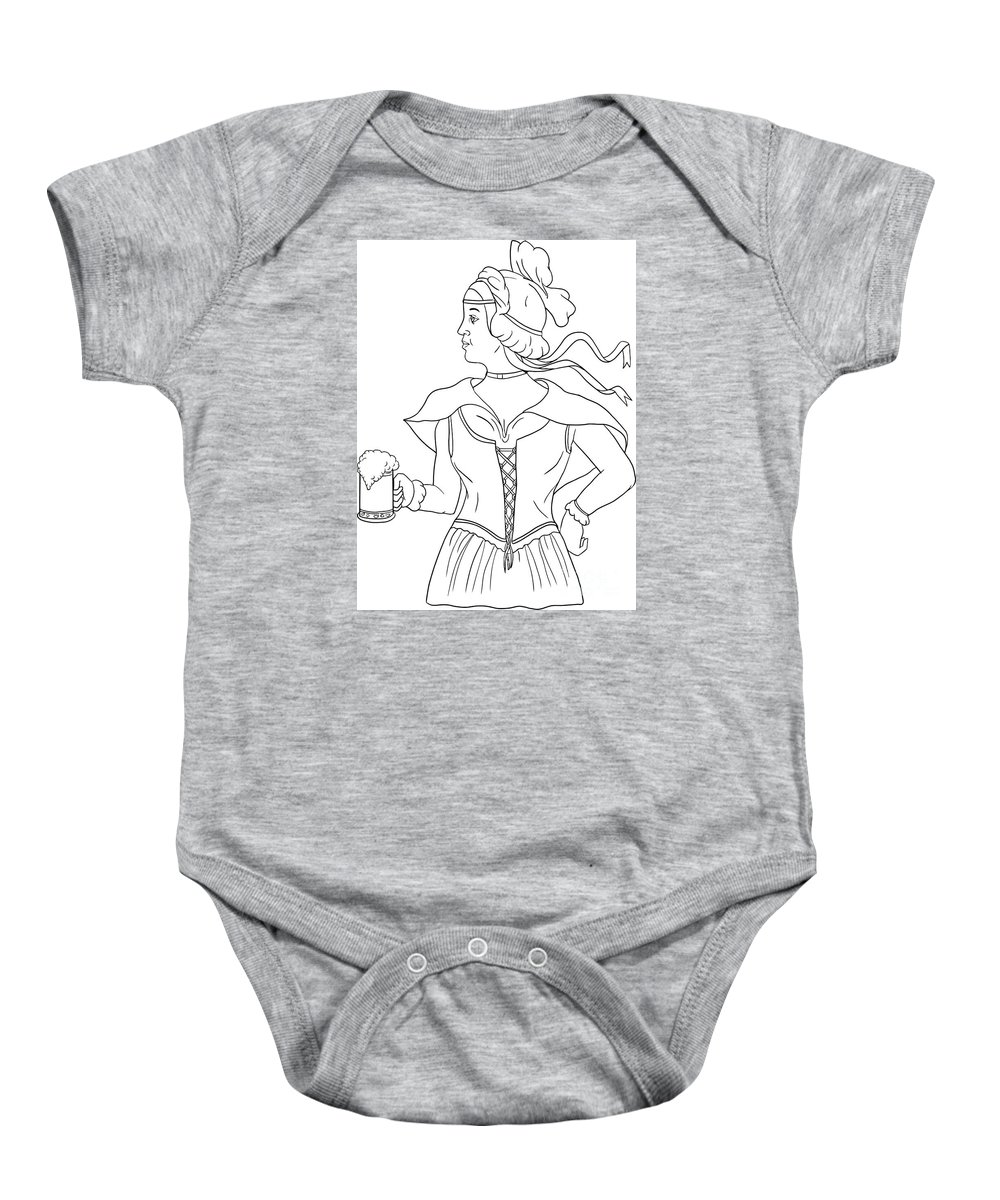 Drawing Baby Onesie featuring the digital art German Barmaid Serving Beer Drawing by Aloysius Patrimonio