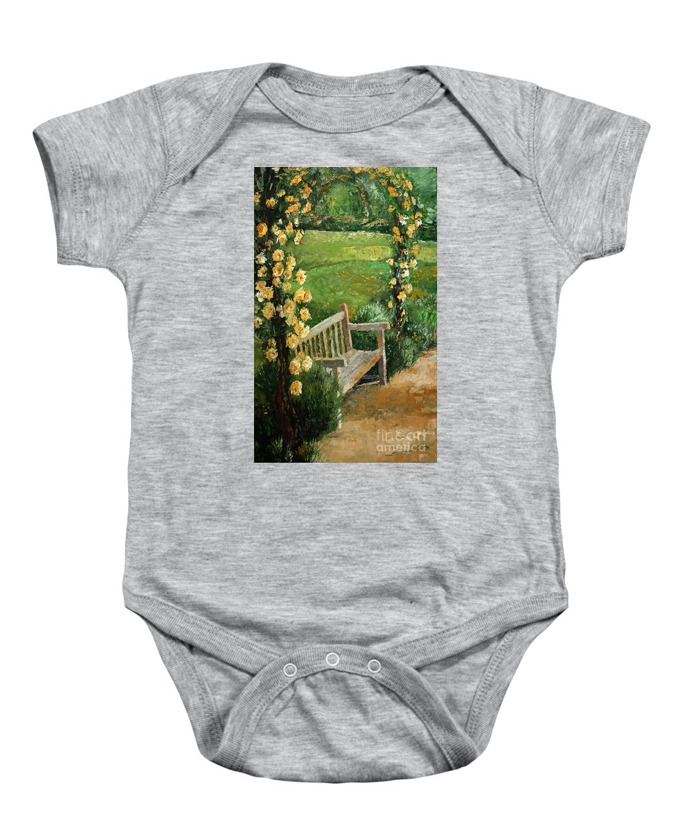 Oil Baby Onesie featuring the painting Germany Baden-baden Rosengarten by Yuriy Shevchuk