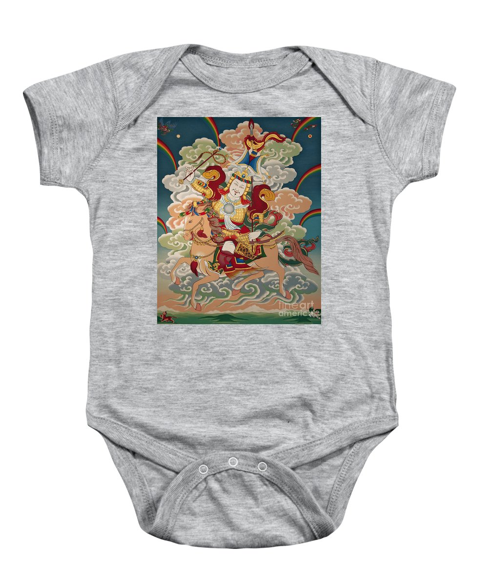 Thangka Baby Onesie featuring the painting Gesar Gyalpo by Sergey Noskov