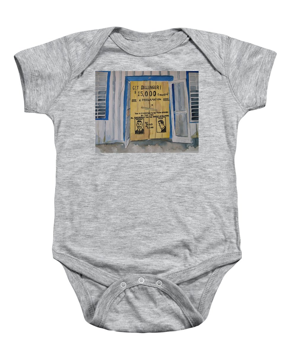 Building Baby Onesie featuring the painting Get Dillinger by Patricia Caldwell