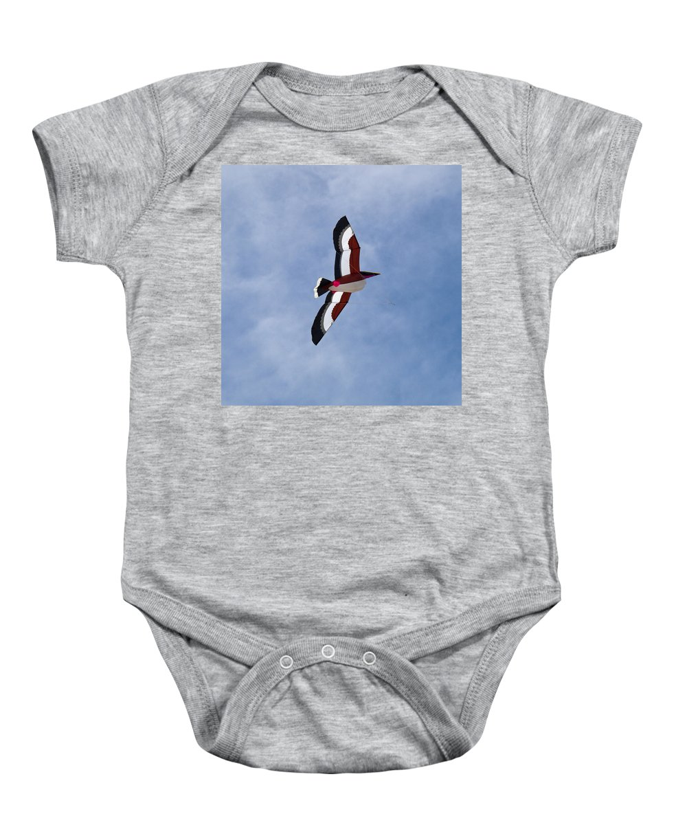 Pelican; Kite; Giant; Soaring; Fly; Flying; Spring; Break; Fesival; Fest; Kitefest; Florida; Melbour Baby Onesie featuring the photograph Giant Pelican Searching For Prey by Allan Hughes