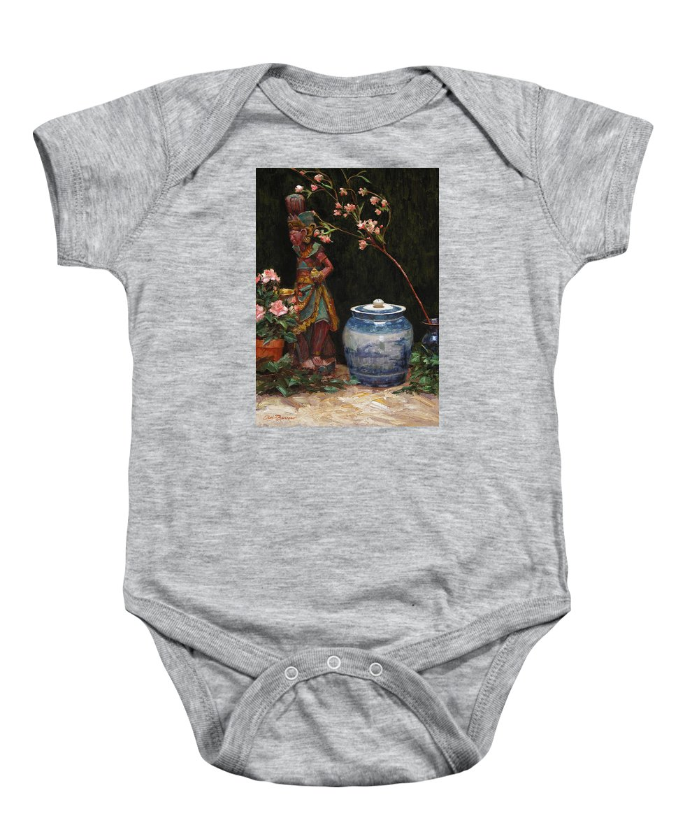Still Life Baby Onesie featuring the painting Ginger Jar by Ron Barsano