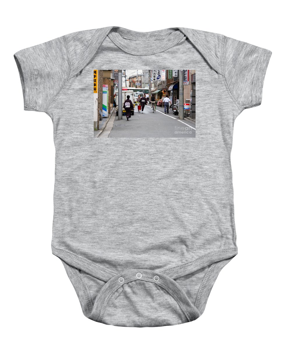 Kyoto Baby Onesie featuring the photograph Gion District Street Scene Kyoto Japan by Thomas Marchessault