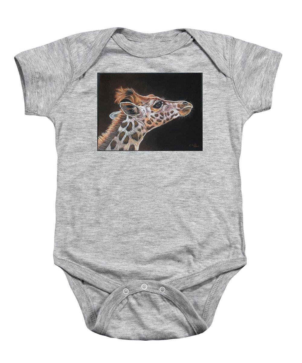 Animal Baby Onesie featuring the pastel Giraffe by Catrin Kloecker