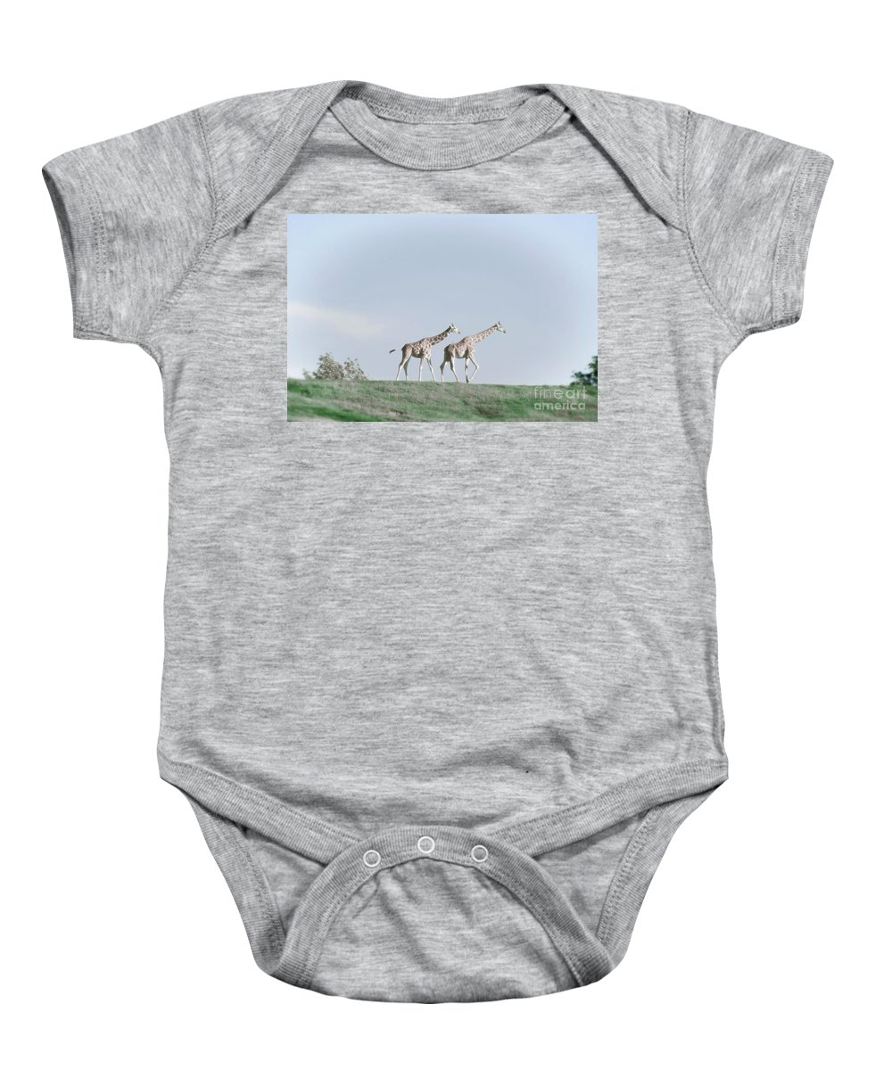 Giraffe Baby Onesie featuring the photograph Giraffe Pair On Hill by Jim And Emily Bush