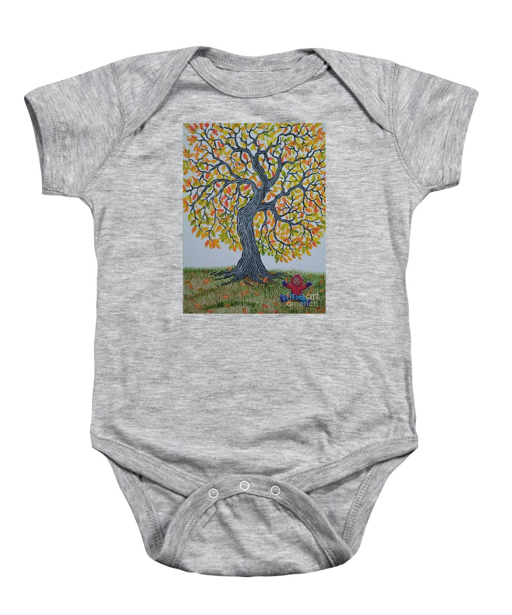 Girl Baby Onesie featuring the painting Girl And Leafs by Nick Gustafson