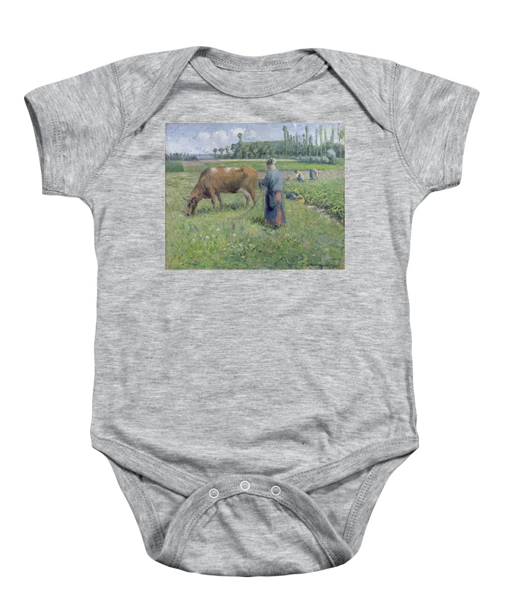 Girl Baby Onesie featuring the painting Girl Tending A Cow In Pasture by Camille Pissarro