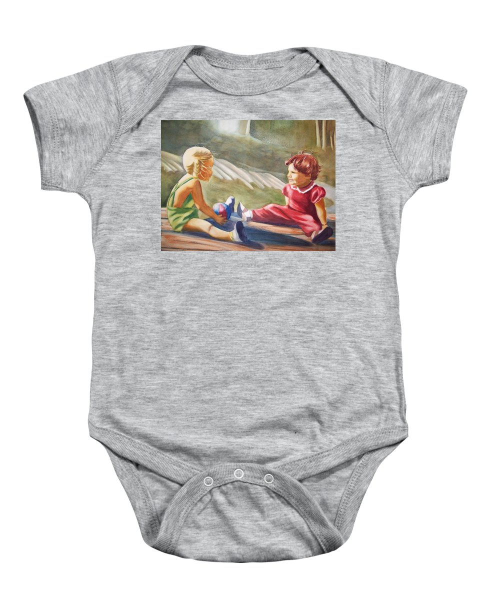 Girls Baby Onesie featuring the painting Girls Playing Ball by Marilyn Jacobson