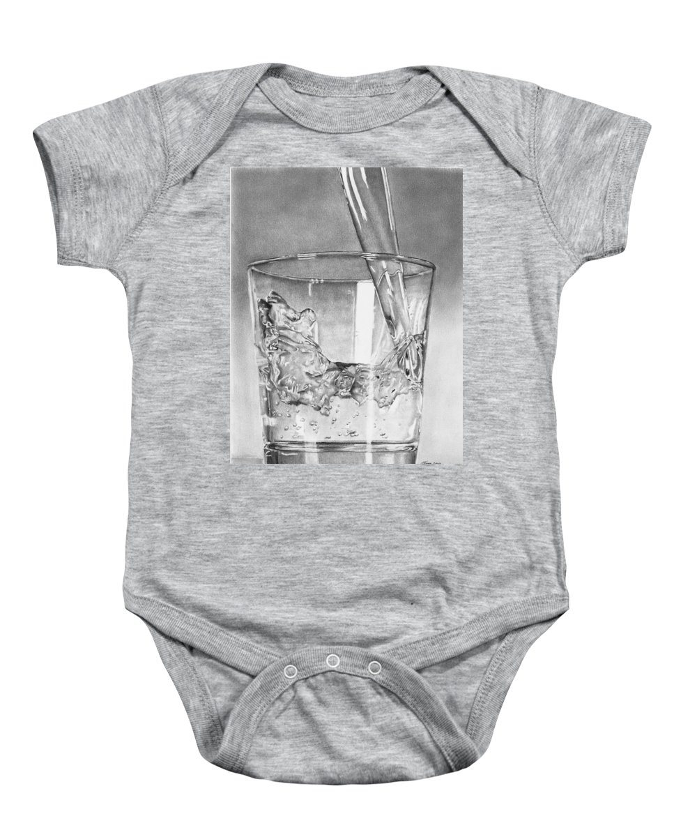 Glass Baby Onesie featuring the drawing Glass Of Water by Carl Moore