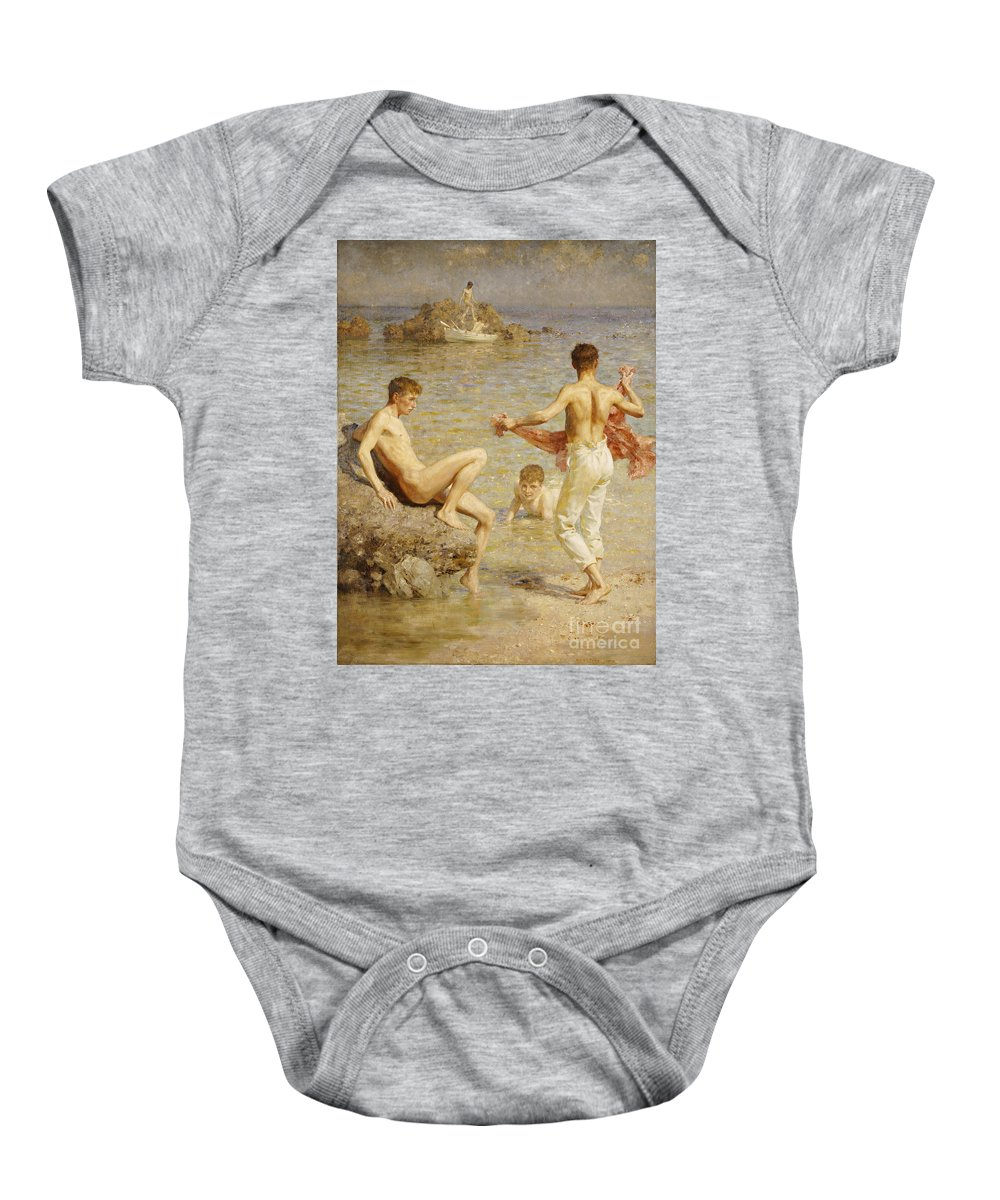 Male; Nude; Bather; Bathers; Sea; Seashore; Shore; Playing; Playful; Bathing; Rowing; Boat; Summer; Leisure; Relaxing; Relaxation; Boys; Youth; Youths; Henry Scott Tuke Baby Onesie featuring the painting Gleaming Waters by Henry Scott Tuke
