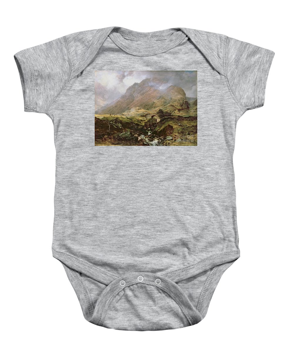 Glencoe Baby Onesie featuring the painting Glencoe by Horatio McCulloch