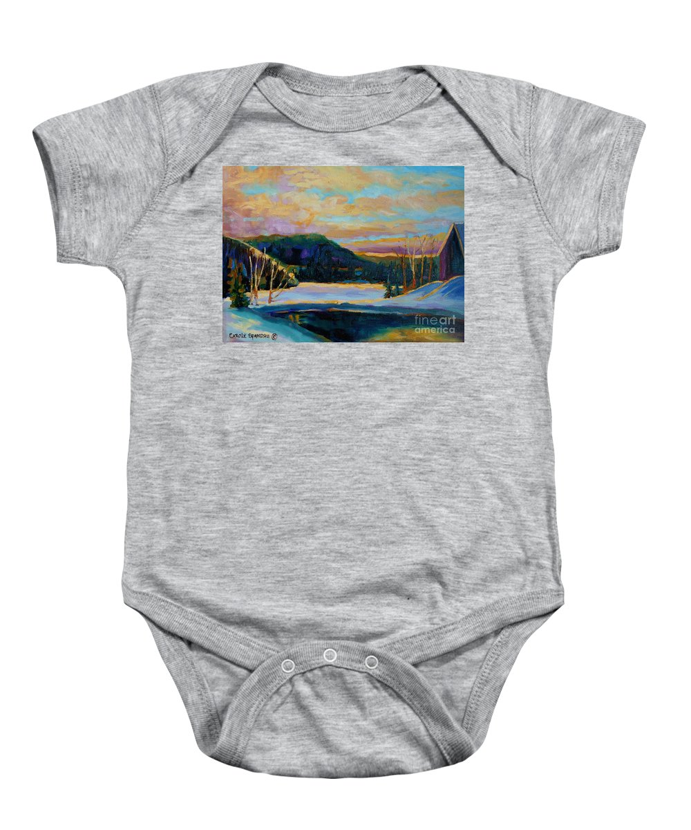 Vermont Baby Onesie featuring the painting Glorious Winter Sunrise by Carole Spandau