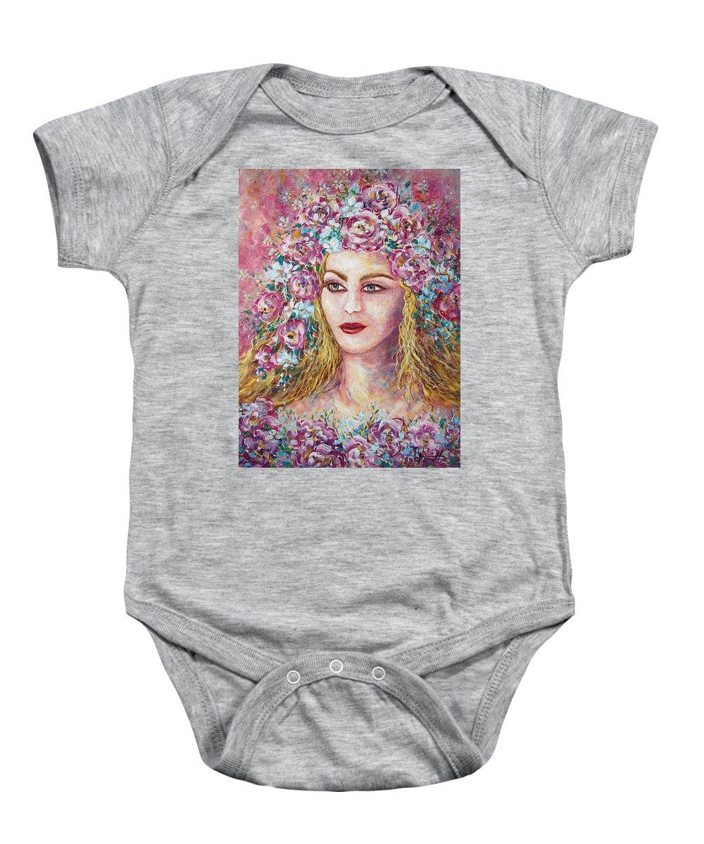 Goddess Of Good Fortune Baby Onesie featuring the painting Goddess Of Good Fortune by Natalie Holland