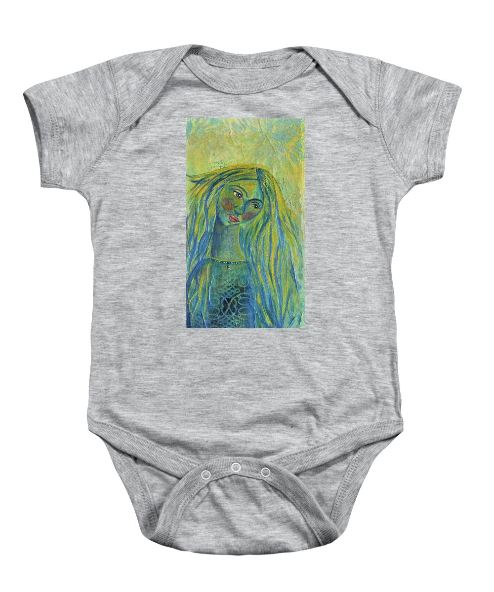 Goddess Of The North Sea Baby Onesie featuring the painting Goddess Of The North Sea by Donna Blackhall