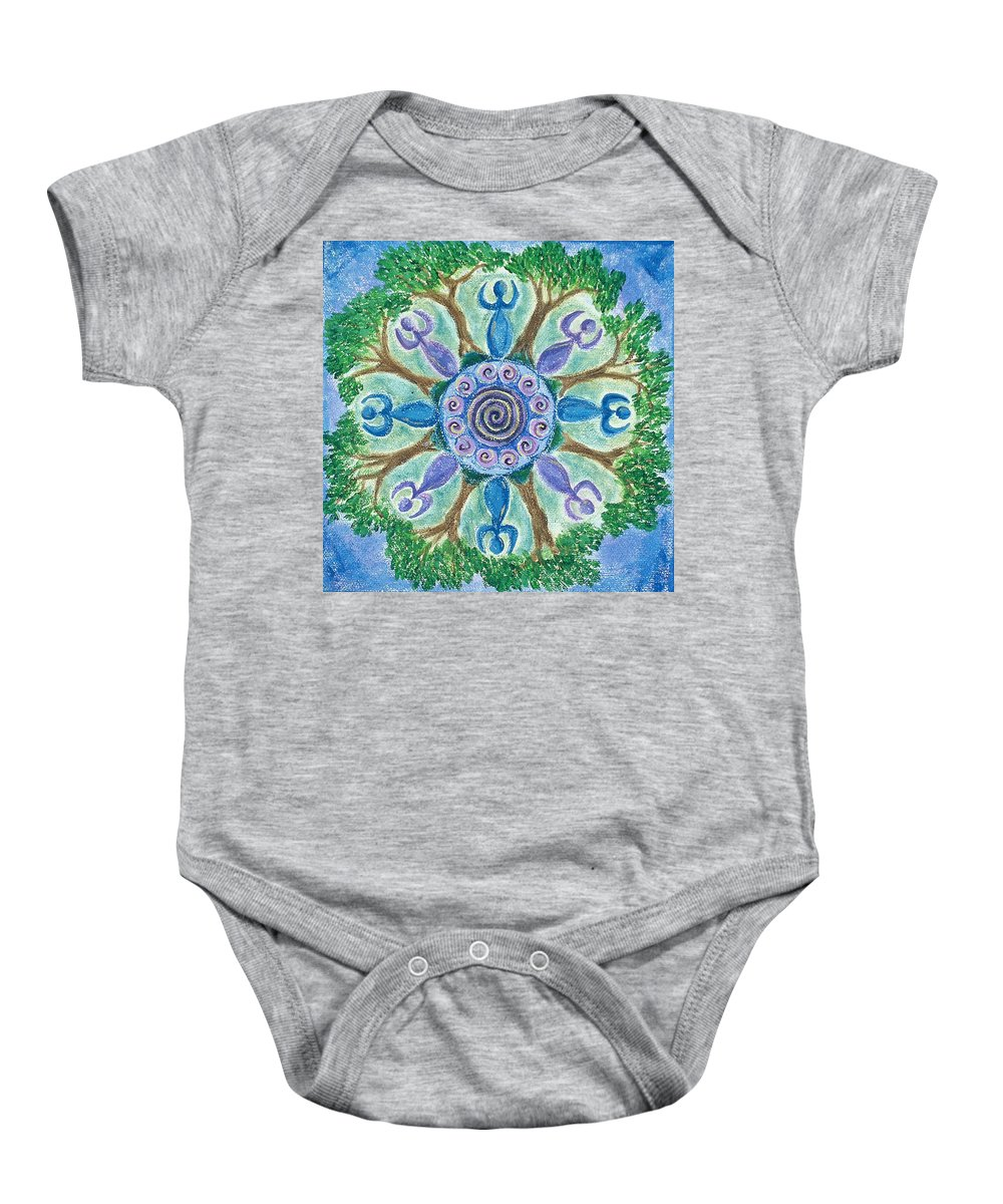 Goddess Baby Onesie featuring the painting Goddesses Dancing by Charlotte Backman
