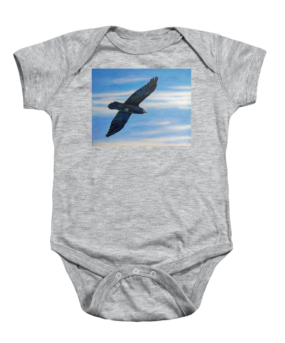 Bird Baby Onesie featuring the painting Going Home by Brian Commerford