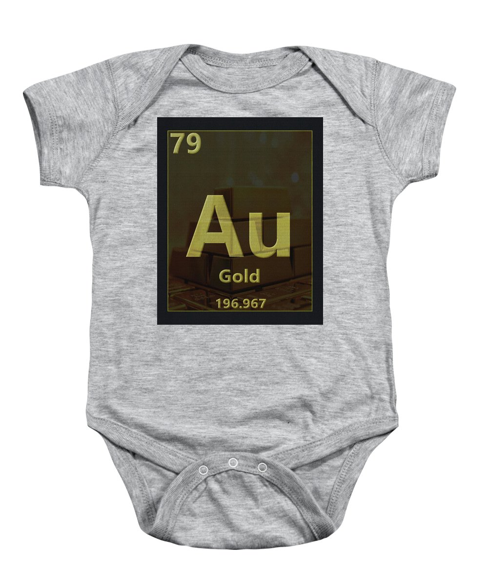Gold Periodic Table Baby Onesie featuring the digital art Gold Periodic Table by Dan Sproul