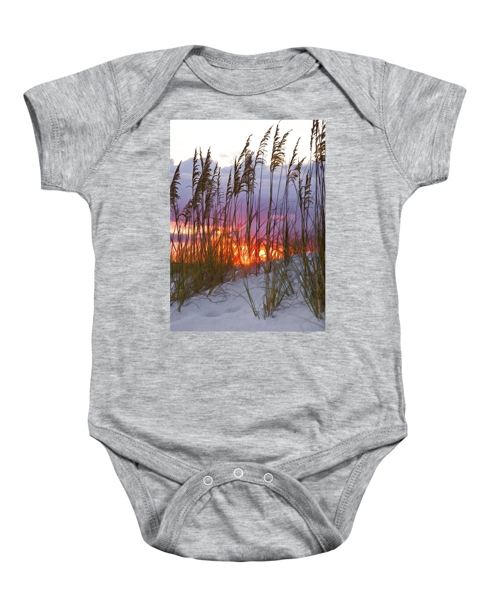 Sea Oats Baby Onesie featuring the photograph Golden Amber by Janet Fikar