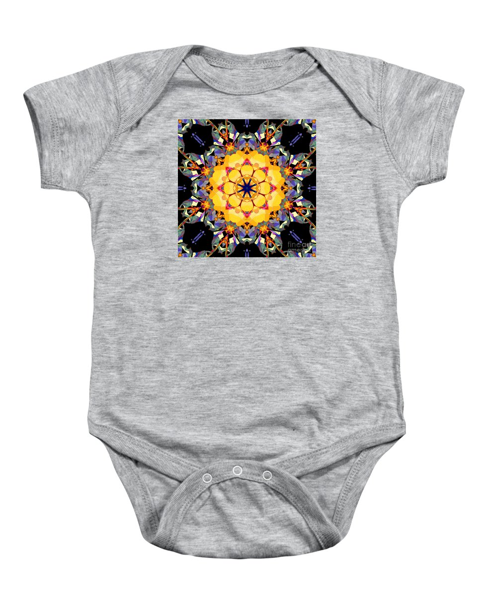 Mandala Baby Onesie featuring the digital art Golden Flower Abstract by Phil Perkins