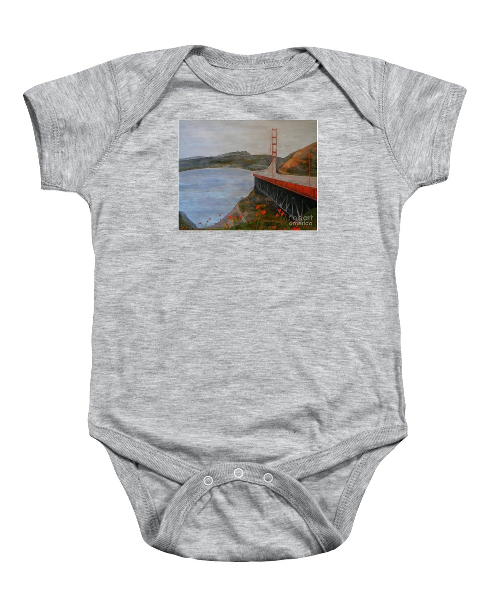 Golden Gate Bridge Baby Onesie featuring the painting Golden Gate Bridge by Ellen Beauregard