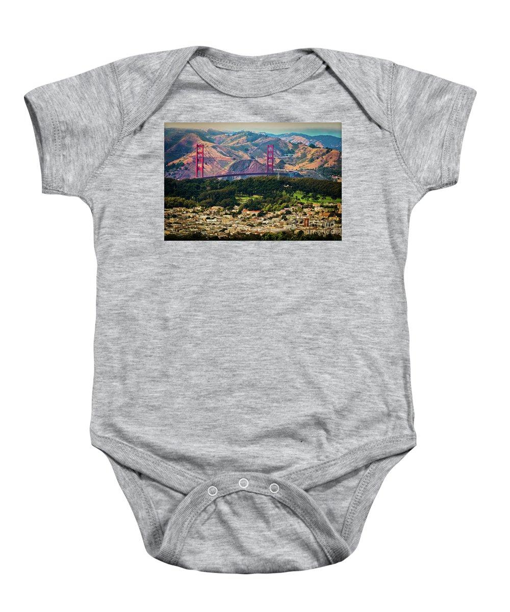 Sfo Baby Onesie featuring the photograph Golden Gate Bridge - Twin Peaks by Doug Sturgess