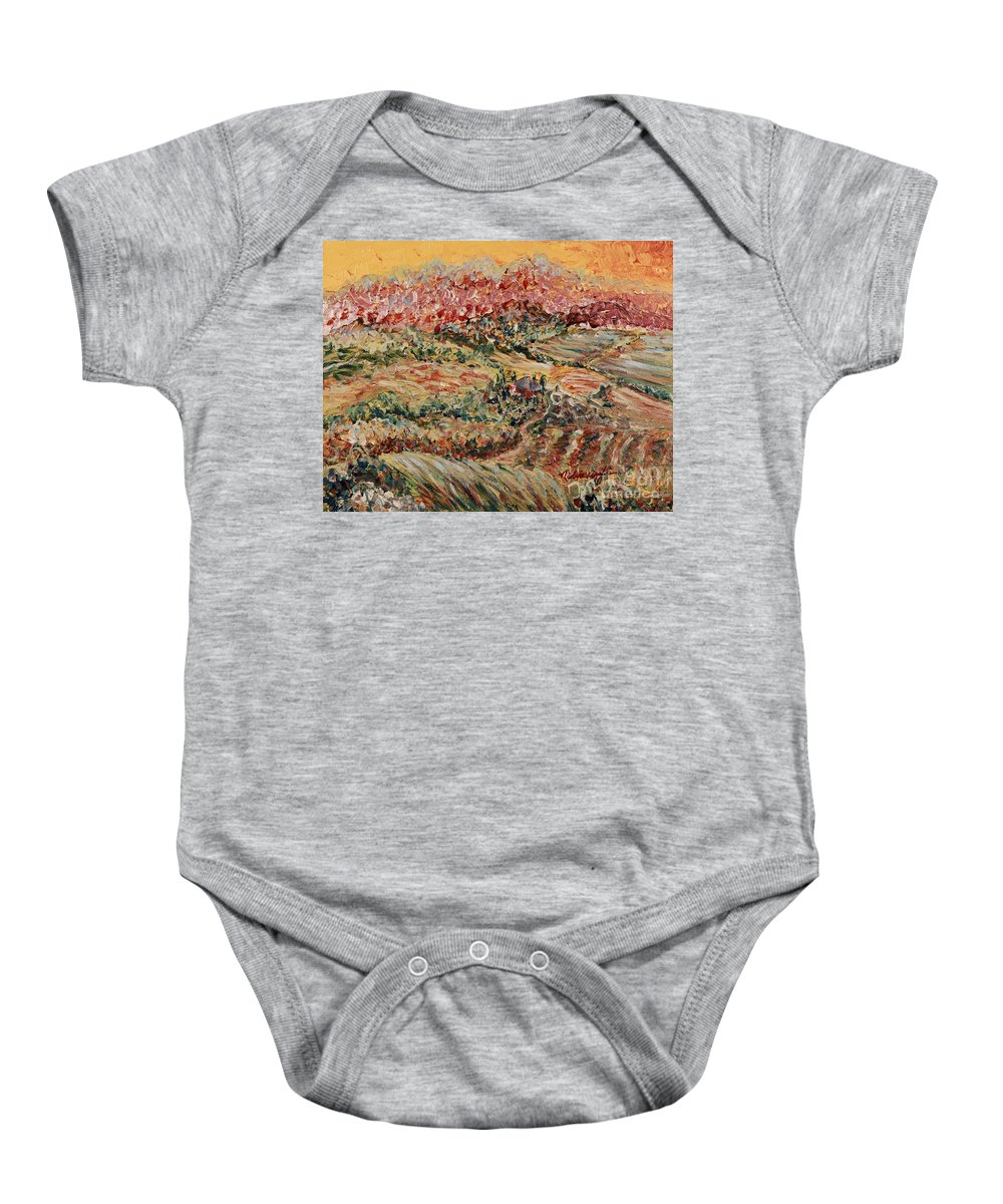 Provence Baby Onesie featuring the painting Golden Provence by Nadine Rippelmeyer