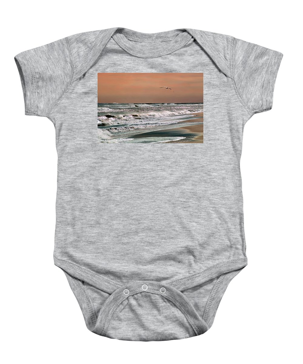 Seascape Baby Onesie featuring the photograph Golden Shore by Steve Karol
