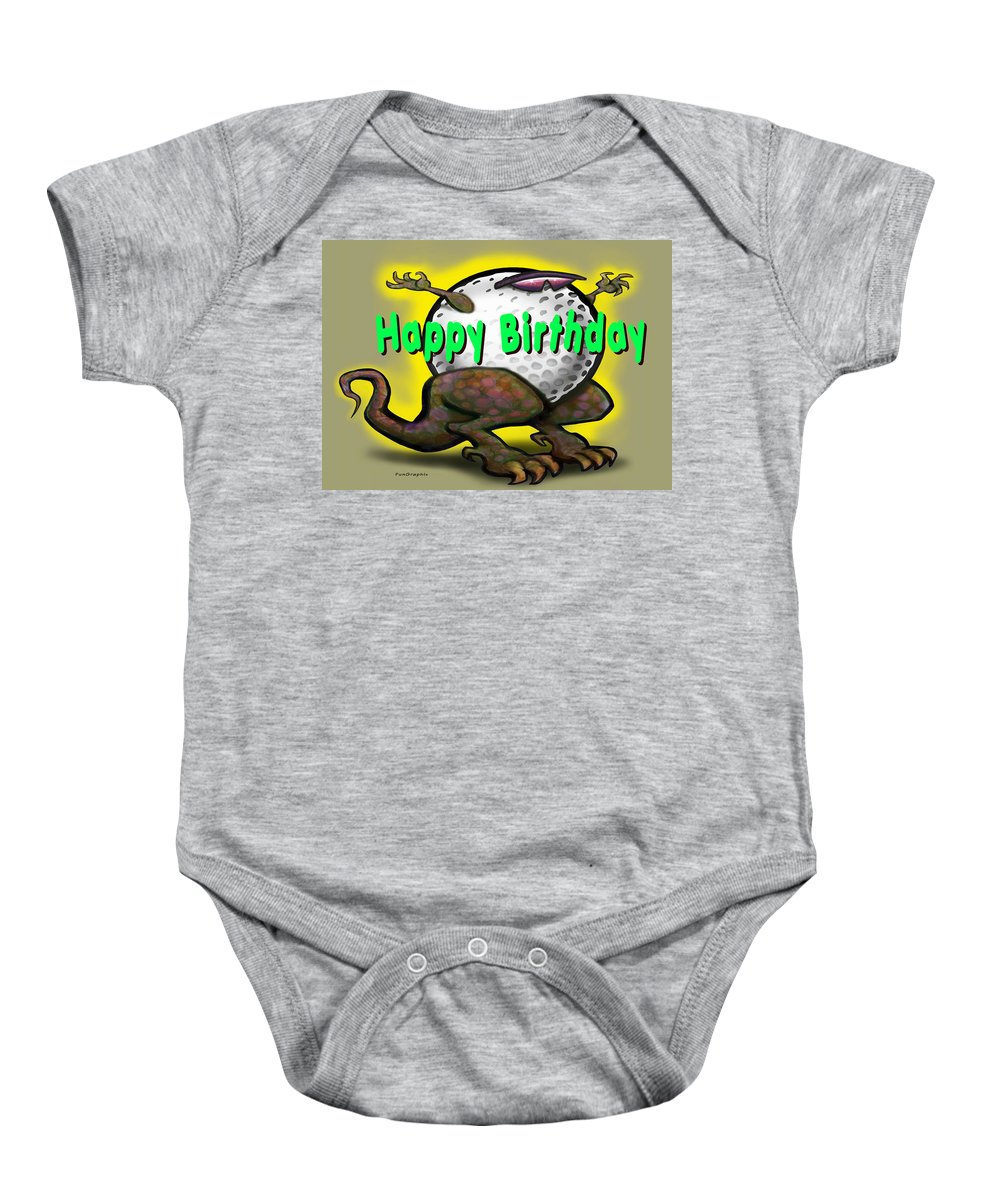 Golf Baby Onesie featuring the greeting card Golf A Saurus Birthday by Kevin Middleton