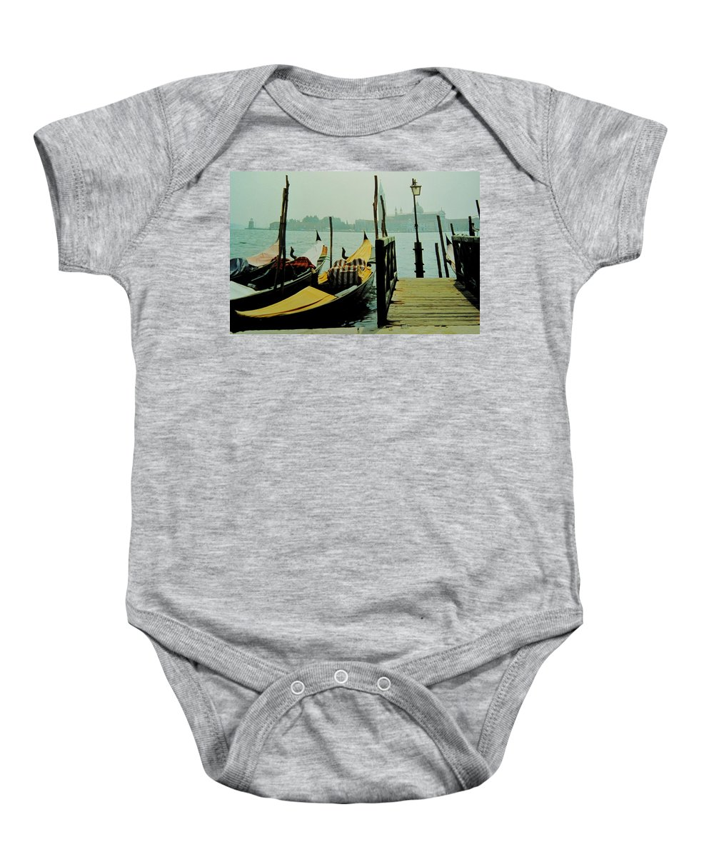 Venice Baby Onesie featuring the photograph Gondolas by Ian MacDonald
